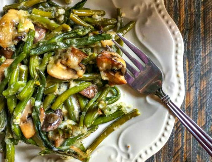 This low carb green bean casserole is a delicious holiday dish with fewer carbs. Easy to make and only 2.9g net carbs!