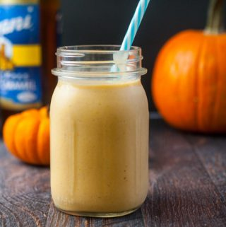 This low carb salted caramel pumpkin smoothie is just the thing to get your going in the morning. With only 5.4g net carbs per serving, it could be a dessert too!