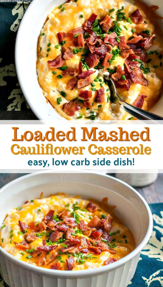 baking dishes with low carb mashed cauliflower with flower vase in background and text overlay
