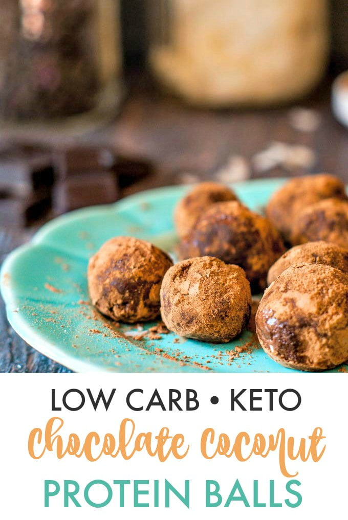 plate of low carb protein balls covered in cocoa powder with text overlay