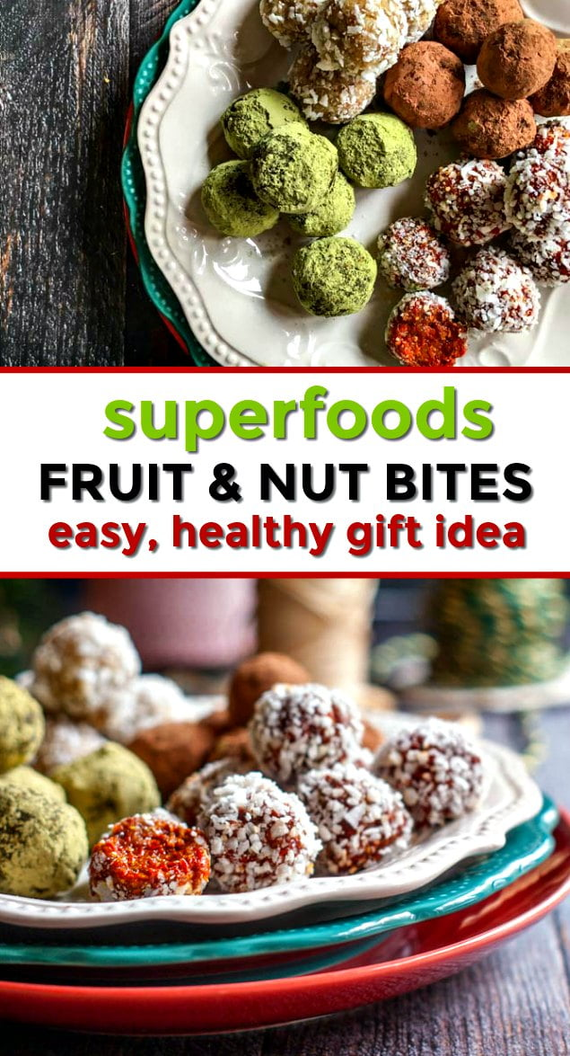 plate of superfoods fruit & nut balls with text