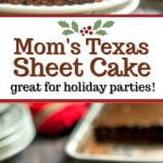 piece of Texas sheet cake on white plate with pan in background and text overlay