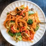 These Thai butternut squash noodles are as delicious as they are beautiful. Finished in 20 minutes, this is an easy, healthy and tasty vegetarian dinner.