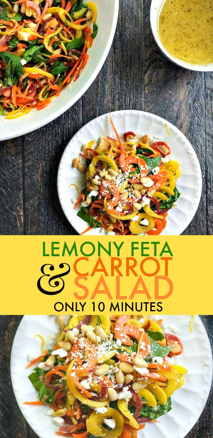 This lemony feta & carrot salad is a light and tasty side dish that you can make in minutes. Bright lemon, tangy feta and sweet carrots compliment each other in this easy salad. Only 5.8g net carbs per serving.