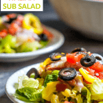 bowls and plates with low carb Italian sub salads with text