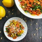 This lemony feta & carrot salad is a light and tasty side dish that you can make in minutes. Bright lemon, tangy feta and sweet carrots compliment each other in this easy salad.
