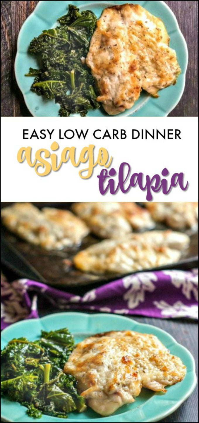 This easy low carb asiago tilapia dish is not only delicious but it only takes 25 minutes to make. The perfect weekday dinner and only 1.7g net carbs per serving!