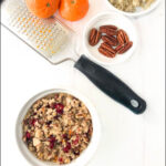 ingredients for quinoa breakfast bowl and text
