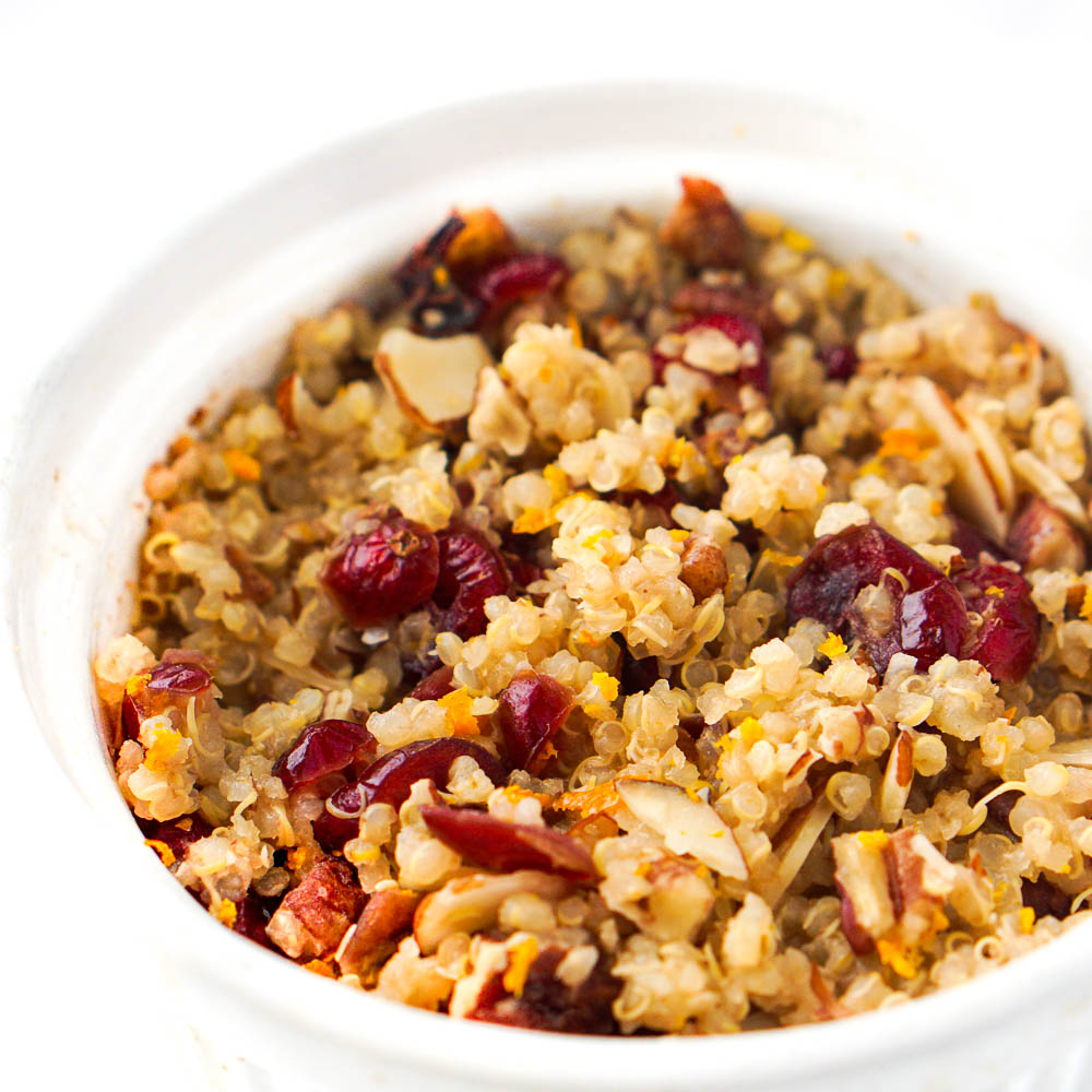 closeup of cranberry orange quinoa breakfast bowl