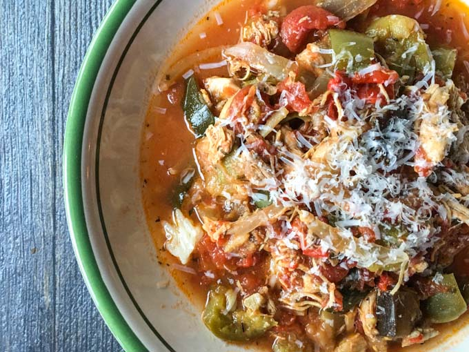 This slow cooker chicken ratatouille stew is a healthy and hearty dish that you can make in minutes. Server over rice or eat as is.