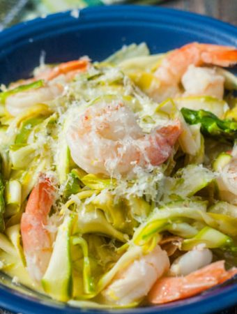 These lemon shrimp asparagus noodles are a delicious and healthy dinner. Perfect for a light low carb dinner and only takes 15 minutes to make.