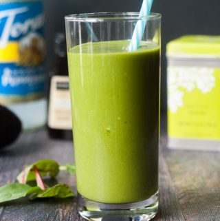 This low carb vanilla mint matcha smoothie is an invigorating way to start your morning. Packed with healthy ingredients for only 5.6g net carbs.