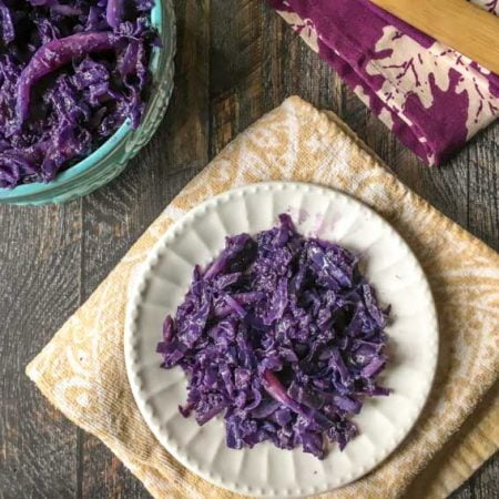 This garlic ginger red cabbage takes only minutes in the instant pot and is full of flavor.