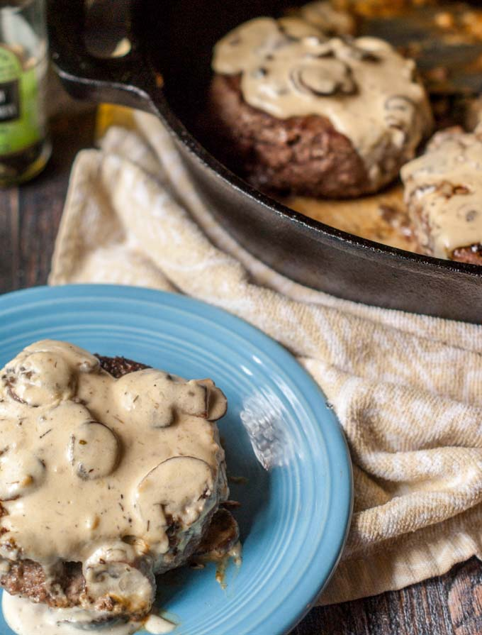 These burgers & gruyere mushroom sauce is a delicious low carb dinner you can have any day of the week. Only 4.8g net carbs per huge serving.