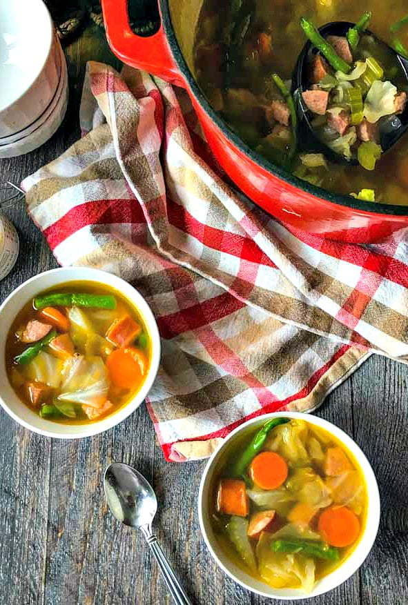This easy kielbasa vegetable soup will keep you warm on a cold day. Simple ingredients but full of flavor.  Only 6.9g net carbs per serving.