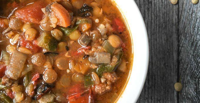 Easy Lentil & Sausage Soup (Instant Pot)