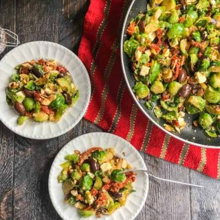 This Mediterranean Brussels sprouts side dish is easy and delicious. Briny olives, sweet tomatoes and tangy feta bring the fresh Brussels sprouts to life! And only 15 minutes to make!