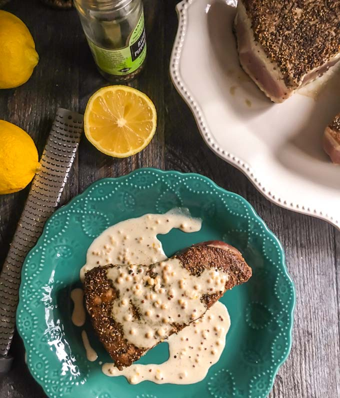 Thispeppered tuna steak recipeis simplebut elegant. Meaty and tender these tuna steaks taste even better with a lemony dijon cream sauce for only 2.9g net carbs.