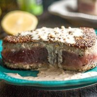 Pepper Tuna Steak Recipe with Lemon Dijon Cream Sauce (low carb)