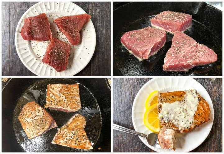 collage of how to cook pepper steaks