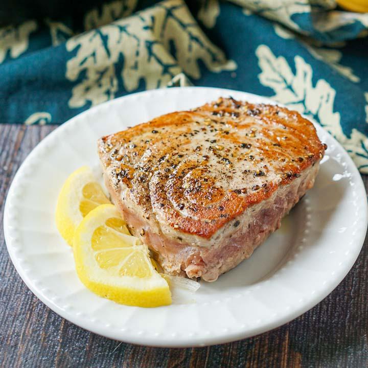 Pepper Tuna Steaks with Lemon Dijon Cream Sauce