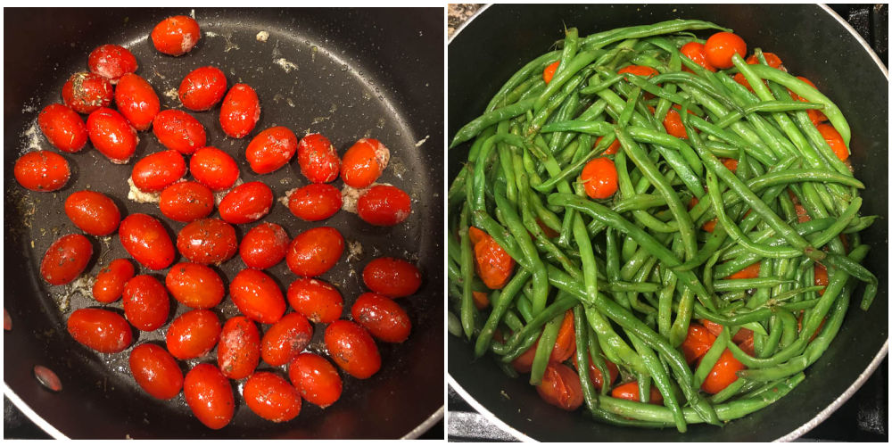 collage of pans of green beans and grape tomatoes