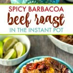 Barbacoa beef on rice in blue bowl with text overlay.