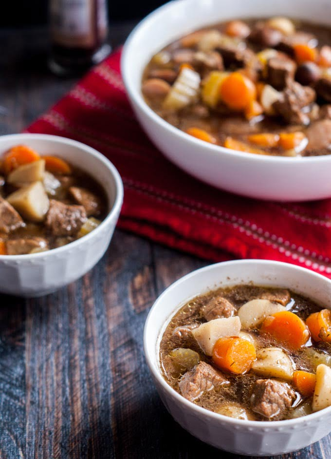 This easy pot roast soup is a breeze in the Instant Pot or slow cooker. The perfect light meal in a bowl!