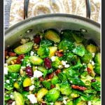 pan with mediterranean low carb Brussels sprouts and text