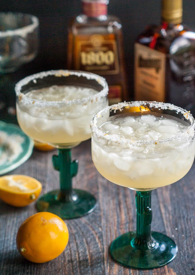 These simple Meyer lemon margaritas are a refreshing change to your usual cocktail. Meyer lemons add a subtle but delicious flavor you are sure to love.