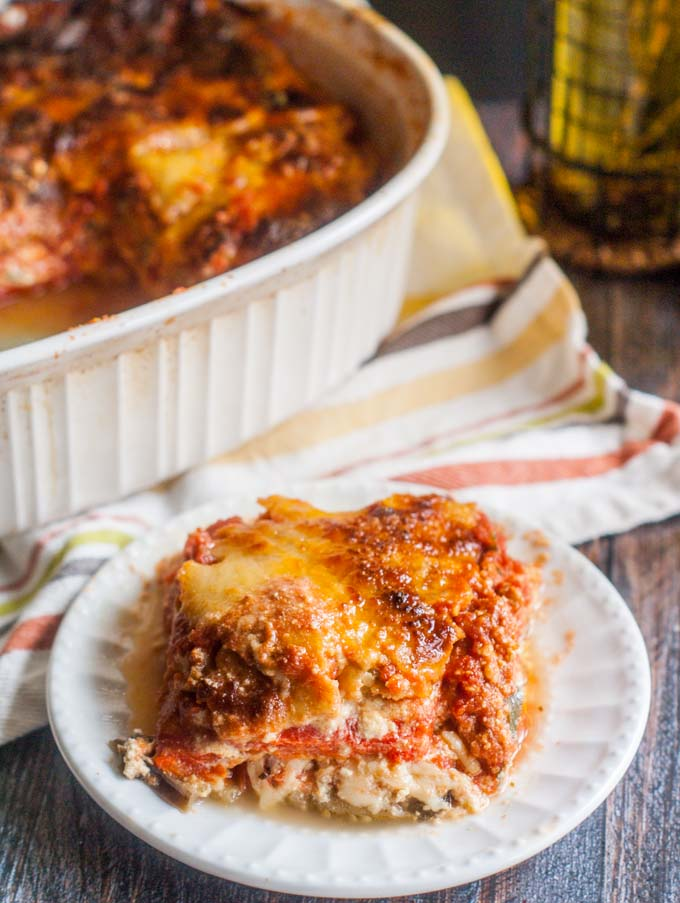 A delicious vegetable lasagna without noodles! Yes, it's all veggies, cheeses and marinara sauce for a tasty gluten free, vegetarian dinner. (You won't miss the noodles!)