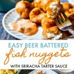 A plate of beer battered fish nuggets with a fork and a white plate of nuggets and text overlay.