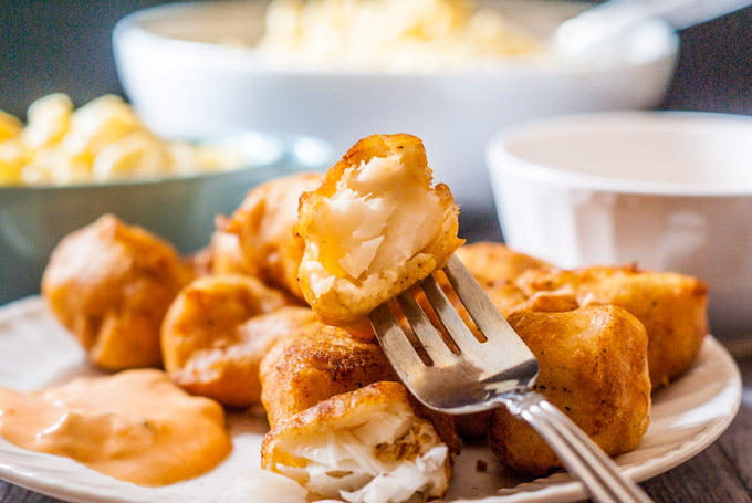 These easy beer batter fish nuggets are perfect for family fish dinner. Skip the fish fry and make your own!
