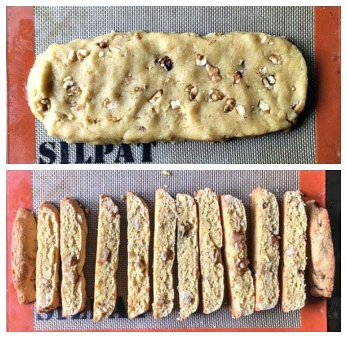 raw biscotti dough on silat and baked peoples of low carb biscotti below it.