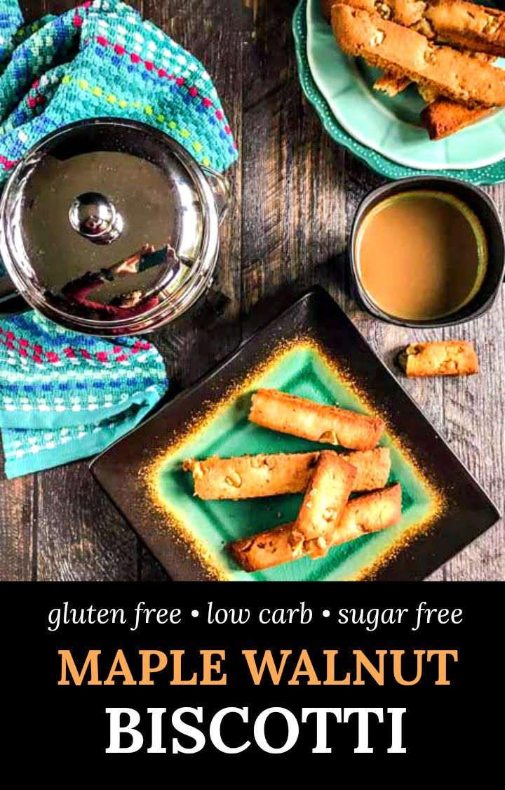 green plate with low carb biscotti and text overlay