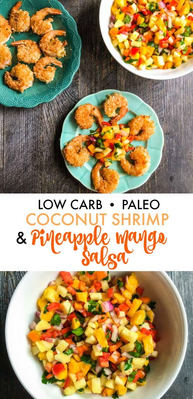Long photo of coconut shrimp on blue plate and white bowl of fruit salsa with text overlay.