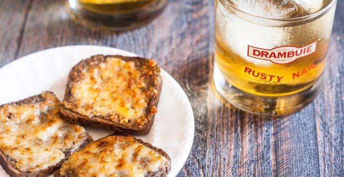 Retro Parmesan Toast & Rusty Nail Cocktail