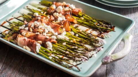 Wrapped Asparagus with Goat Cheese & Balsamic Glaze