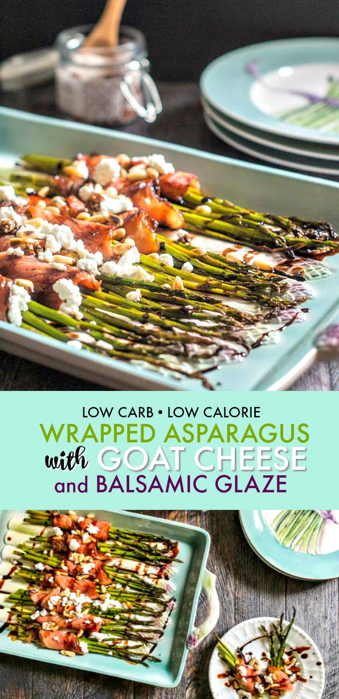 This wrapped asparagus with goat cheese & balsamic glaze is an easy and elegant dish & only 6 ingredients. Salty, creamy, crunchy, sweet, tart all in one!