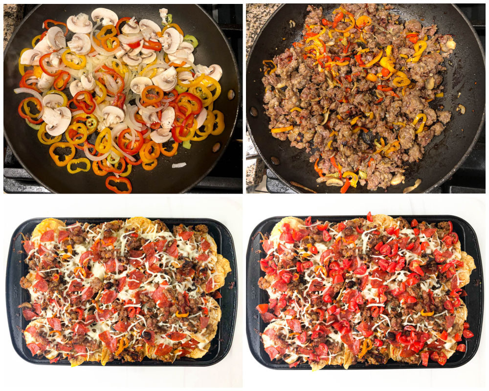 collage of skillets full of sausage and peppers then baking trays with chips, cheese and sausage mixture.