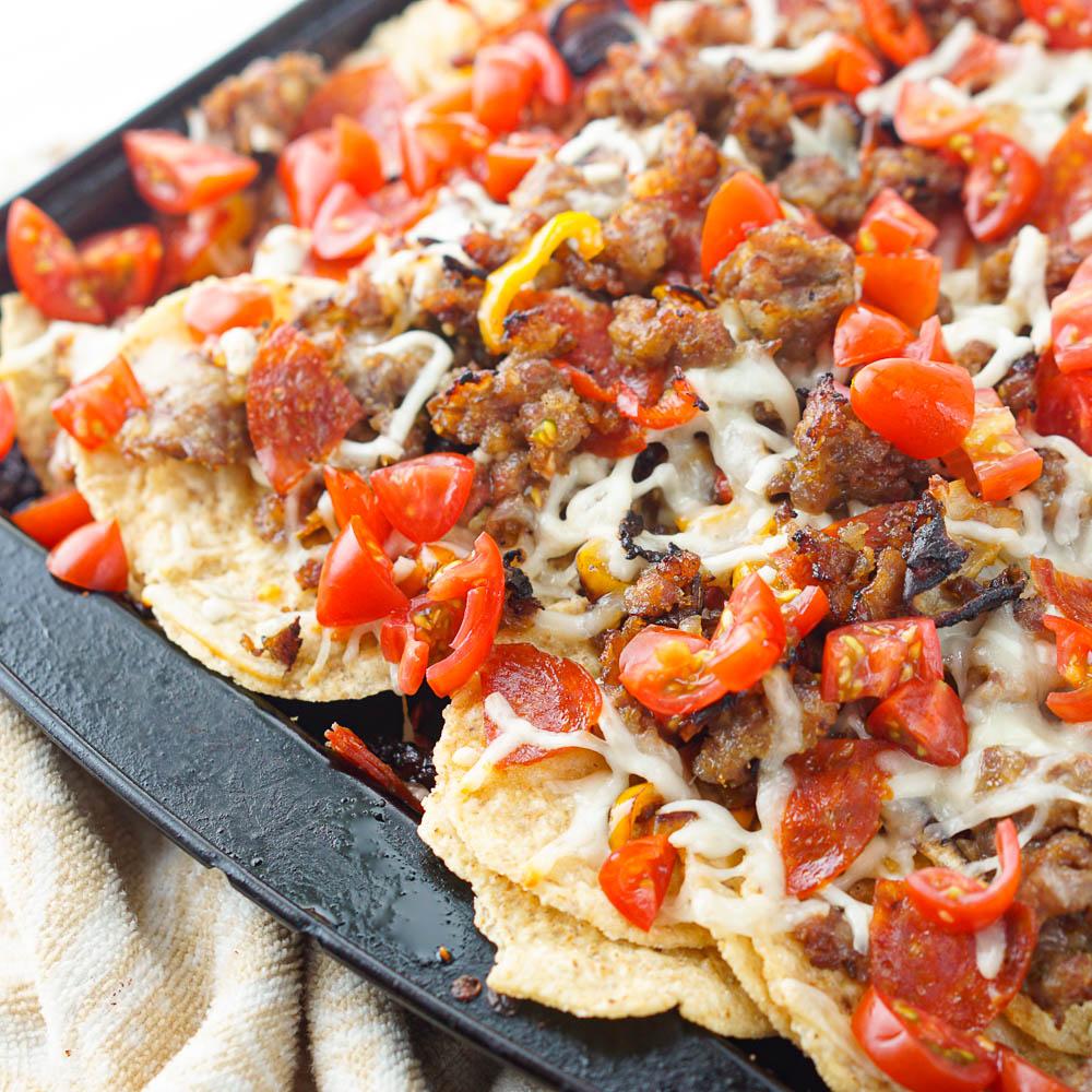 closeup of baking tray with Italian nachos