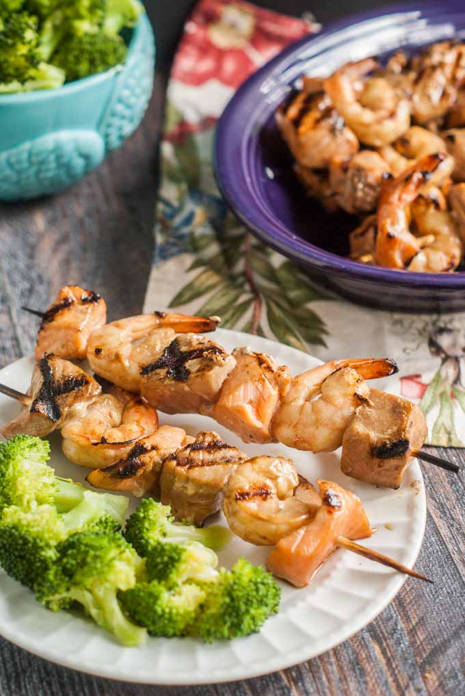These apricot orange grilled seafood kebabs are perfect for a healthy and light dinner on the grill.