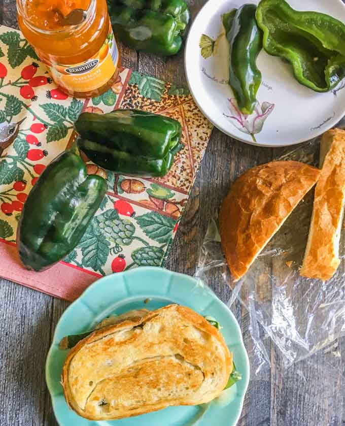 This apricot poblano grilled cheese sandwich has it all. It's creamy, cheesy, sweet, crunchy, salty and has the fresh taste of poblano peppers.