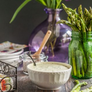This asparagus & green goddess dip is a delicious low carb snack. It also makes a great appetizer for your next party.