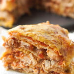 white plate with instant pot Mexican lasagna with text