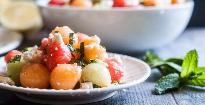 Feta Melon Salad with Lemon & Mint
