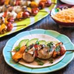These grilled chicken fajita kebabs are a quick and easy dinner. Marinate the night before and eat as a taco or a salad. A delicious dinner on the grill!