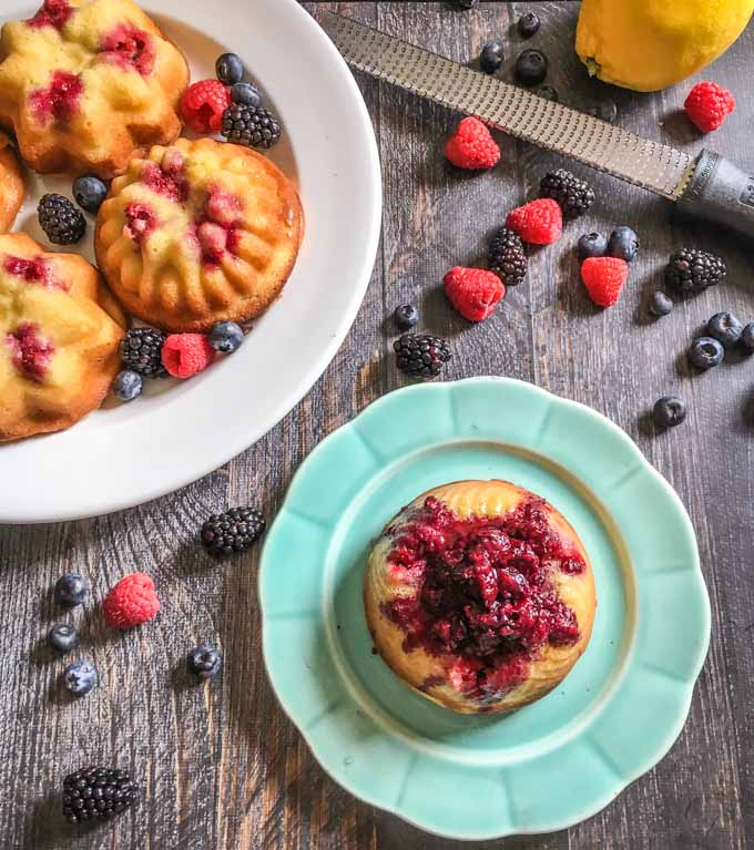 These low carb lemon berry bundt cakes are the perfect solution to your sweet tooth on a diet. Not only are they sweet and tasty, they are gluten free too!