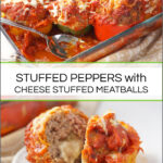 white plate and baking dish with meatball stuffed peppers