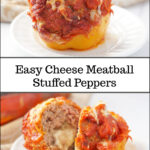 white plate with meatball stuffed peppers